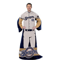 Milwaukee Brewers MLB Adult Uniform Comfy Throw Blanket w- Sleeves