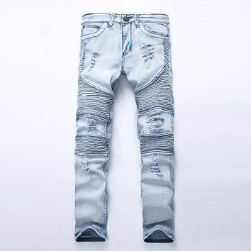 New Fashion Men jeans Washed Light blue Moto Denim Pants Ripped Rider Biker Jeans Motorcycle Hip Hop For Skinny Stretch Hip Hop