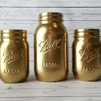 Gold Wedding Centerpiece - Gold Home Decor - Painted Mason Jars - Gold Decorations - Bridal Shower Decor - Mason Jar Centerpiece