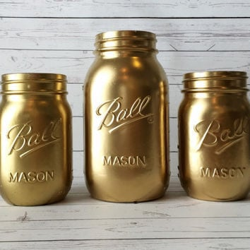 Shop Gold Painted Mason Jars On Wanelo