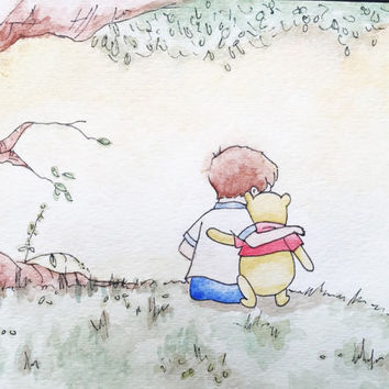WINNIE THE POOH and Christopher Robin watercolor - original Disney illustration watercolor print Pooh friends nature print Disney art