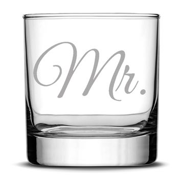 Premium Wedding Whiskey Glass, Mr., Hand Etched 10oz Rocks Glass