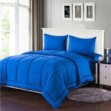 Tache 3-4 Piece Solid Deep Blue Box Stitched Comforter Set