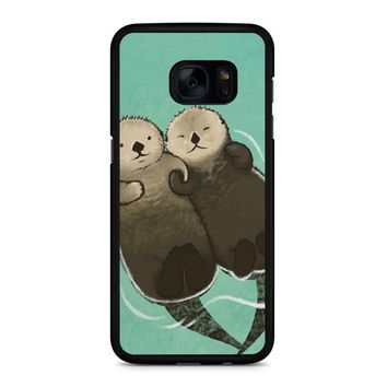Significant Otters Otters Holding Hands Samsung Galaxy S7 Edge Case