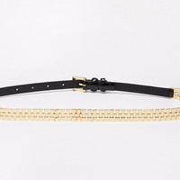 Gold Chain and Leather Belt
