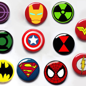 Superhero pin button badges captain america ironman batman spiderman superman loki