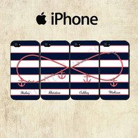 Best Friends Infinity iPhone Case - iPhone 5 Case - iPhone 4 Case - Navy Coral Stripe iPhone Case - FOUR CASE SET