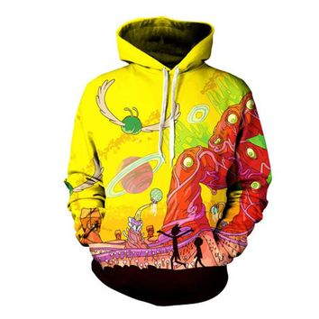 2017 New arrive Rick and Morty Alien 3D Printed Hoodies Pullover Hoodie Trippy Planet Artwork Sweatshirt