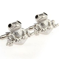 Cufflinks Frog Toad Amphibian Silver Business Shirt Wedding Gift
