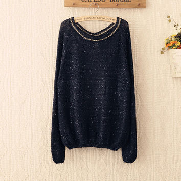 NEW Hot  Women Sweater Autumn Fashion O Neck Solid Knitwear lady Sequined Pullover Sweater bow Lace stitchingpaillette 4207 SM6