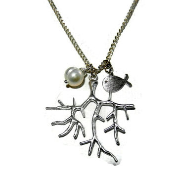 Silver Coral Charm Necklace with Freshwater Pearl and Silver Fish Charm