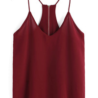 Red Strappy Back Zipper Chiffon Cropped Top