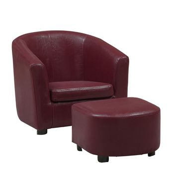 Leather-Look Juvenile Chair / Ottoman 2Pcs Set Red