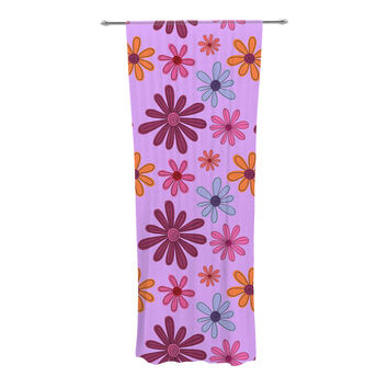 """Jane Smith """"Woodland Floral"""" Purple Flowers Decorative Sheer Curtain"""