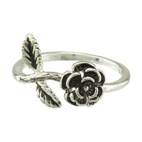 FM42 Silver-tone Black Enamel Detailed Rose Flower with Leaves Ring R226