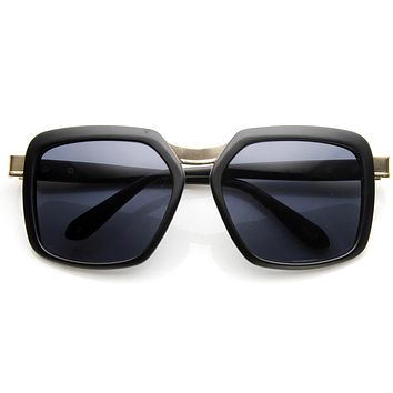 Luxury Womens Fashion Metal Temple Oversize Square Sunglasses 9164