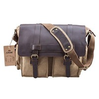 S-ZONE Retro Canvas Leather Messenger Laptop Shoulder Bag