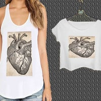 Antique Heart Anatomy For Woman Tank Top , Man Tank Top / Crop Shirt, Sexy Shirt,Cropped Shirt,Crop Tshirt Women,Crop Shirt Women S, M, L, XL, 2XL**