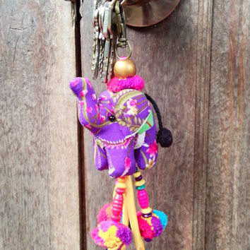 One piece in the world, Elephant keychain, Animal keychain, Stuffed elephant, Elephant fabric, Key ring, Gift, Bag