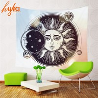Hyha Psychedelic Celestial Indian Sun Tapestry Starry Bohemian Psychedelic Printing Hanging Wall Tapestry 130x150cm Beach Towel