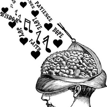 Musical Notes Heart Inpirational words going into human brain printable art digital download image graphics black and white artwork