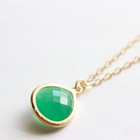 "Gold Necklace - Stone Necklace - Long Necklace - 24"" - Emerald Green Glass Stone Drop Pendant on Matte Gold Chain"