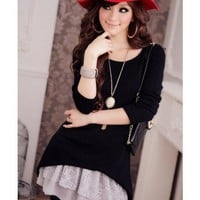 Black Women Long Sleeve Scoop Autumn New Style Korean Style Fashion Slim Two-pieces Cotton Dress S/M/L @WH0405b $20.99 only in eFexcity.com.