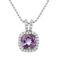 Amethyst & Cubic Zirconia Platinum Over Silver Square Halo Pendant Necklace (Purple)