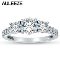 Real Three Stone Moissanites Engagement Rings For Women Solid 14K White Gold Lab Grown Diamond Wedding Band Classic Wedding Ring
