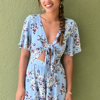 Firecracker In Floral Romper - Blue