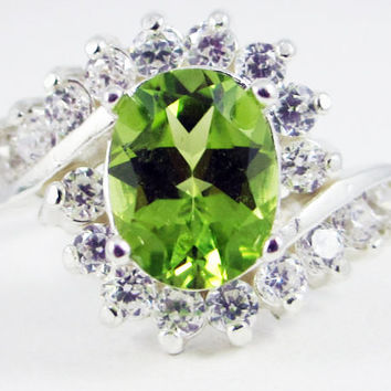 Peridot and White CZ Ring Sterling Silver, August Birthstone Ring, Large Peridot Oval Ring, Engagement Ring