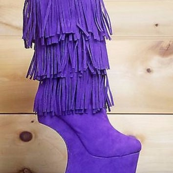 Floramada Purple Fringe Knee High Heel Less Wedge Boot Shoe 5-10