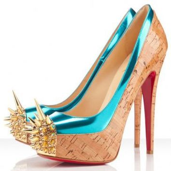 Christian Louboutin Asteroid 160 Spike Toe Cork Pumps Naturale