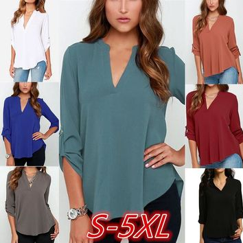 Streetstyle  Casual Women Pleated Long Sleeve Shirt V Neck Irregular Hem Solid Tee Blouse S-5XL Plus Size Pure Color Casual Chiffon Blouse Long Sleeve Tops for Women