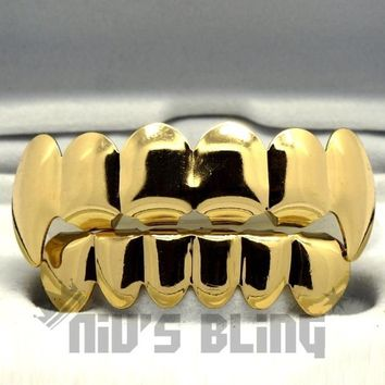 14k Gold Vampire Fang Teeth Top Bottom GRILLZ Set (3GTB) Top&Bottom Set