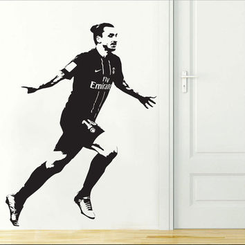 Zlatan Ibrahimovic PSG Soccer Football Player Wall Decal Decor Sticker Wall Art Paris Saint Germain