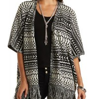 Fringe Poncho Cardigan Sweater by Charlotte Russe