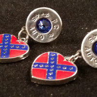 45 Auto Aluminum Stud Dangle Earrings With Confederate heart flag charm Swarovski crystals (Sep)