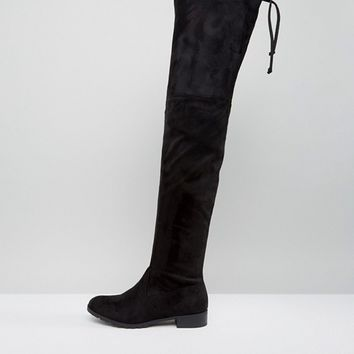 London Rebel Over Knee Flat Boot at asos.com