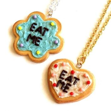 Alice in Wonderland Eat Me Cake Necklace Life-size Cookie - Blue White Pastel Purple or Pastel Pink