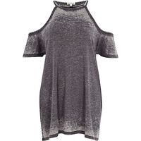 River Island Womens Grey burnout cold shoulder oversized t-shirt