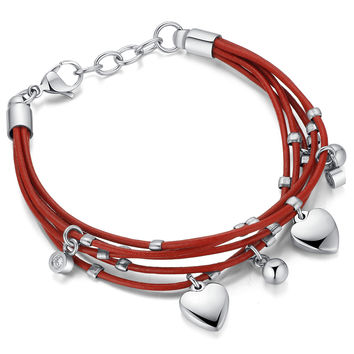 Leather and Stainless Steel Heart and Cubic Zirconia Bracelet - Red