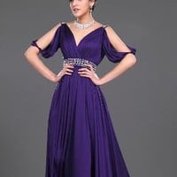 Purple Satin Evening Gown by Svetlana
