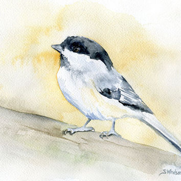 Watercolor Painting Chickadee Giclee 8 x 10 Print