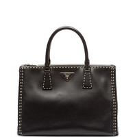 Prada City Calf Double-Zip Executive Tote Bag, Black/White (Nero/Bianco)