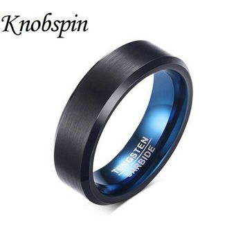 PEAPU3S 2017 Fashion Ring Tungsten Carbide Wedding Ring 6mm width Blue and Black Color Fashion Jewelry anel masculino US Size 7-12