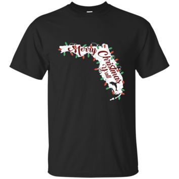 Merry Christmas Y'all Funny Shirt Florida Holidays US Map