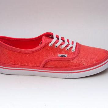 VLXZRBC Sequin | Starlight Coral Custom Vans Canvas Lo Pro Sneakers Shoes