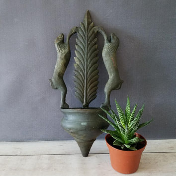 Wall air plant holder/ Wall planter/ Wall Hanging Urn/ Vintage Wall Hanging/ Brass Wall Hanging/ Hounds/ Unique Wall Decor/ Wall Decor