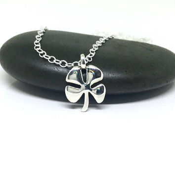 Four Leaf Clover Necklace Sterling Silver Shamrock Pendant Silver Clover Pendant Large Charm Sterling Clover Lucky Necklace